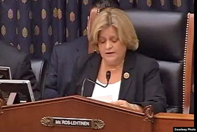 "FILE - Republican Representative Ileana Ros-Lehtinen of Florida speaks at a Capitol Hill hearing, April 11, 2013. She said Tuesday that ""America, under the Obama administration, has forsaken those who suffer under Castro's oppression."""
