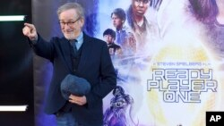 "Steven Spielberg arrives at the world premiere of ""Ready Player One"" at the Dolby Theatre, March 26, 2018, in Los Angeles."