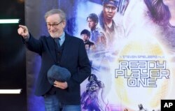 """Steven Spielberg arrives at the world premiere of """"Ready Player One"""" at the Dolby Theatre, March 26, 2018, in Los Angeles."""