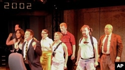 'What's Your Baghdaddy' cast shot featuring (L to R) John Dellaporta, Emily Levey, Matthew G. Myers, Kristen Garaffo, Meredith Richard, Paul Scanlan, Cyle Durkee and Harry A. Winter