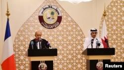 د قطر او فرانس خارجه وزیران - دوحه