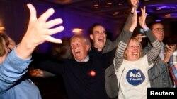反对苏格兰独立的选民对公投结果感到无比兴奋。