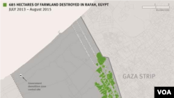 HRW - graphic depicting destroyed farm land, Rafah, Egypt - July 2013 - August 2015