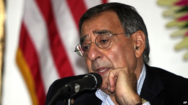 US Defense Secretary Leon Panetta talks to media during a meeting in Nusa Dua, Bali, Indonesia, October 23, 2011.