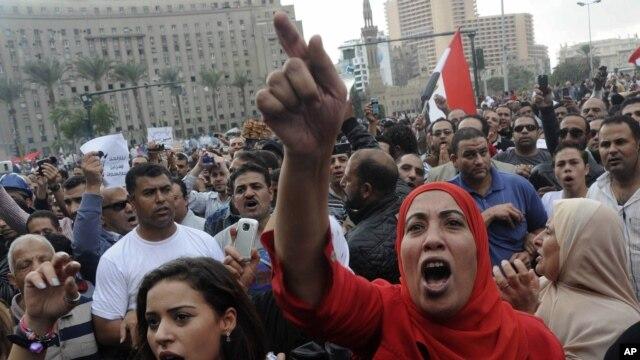 Người biểu tình chống Tổng thống Ai Cập xuống đường tại Quảng trường Tahrir ở thủ đô Cairo.