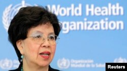 FILE - World Health Organization (WHO) Director-General Margaret Chan addresses the media on support to Ebola affected countries, at the WHO headquarters in Geneva, September 12, 2014. REUTERS/Pierre Albouy (SWITZERLAND - Tags: HEALTH POLITICS HEADSHOT) - RTR45X