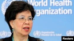 La Directrice générale de l'OMS Margaret Chan en conférence de presse sur la crise Ebola, à Genève, le 12 septembre 2014.