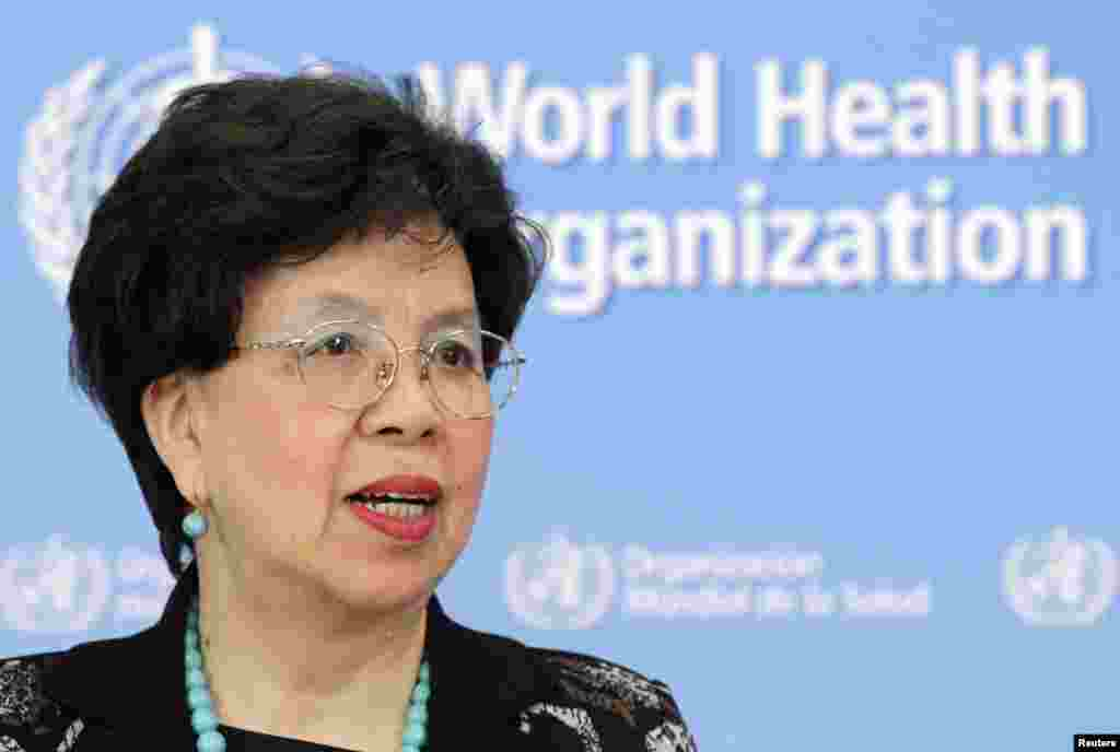 World Health Organization (WHO) Director-General Margaret Chan addresses the media on support to Ebola-affected countries, at WHO headquarters in Geneva, Sept. 12, 2014.