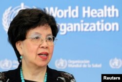 World Health Organization Director-General Margaret Chan addresses the media on support to Ebola affected countries, at the WHO headquarters in Geneva, September 2014. (REUTERS PHOTO)