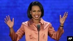 """Mantan Menlu AS Condoleezza Rice mengatakan Amerika """"sedang meninggalkan gelanggang perdagangan bebas"""" dalam era kepemimpinan Obama (29/8)."""