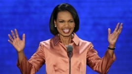 Former Secretary of State Condoleezza Rice reacts to delegates during address at Republican National Convention, Aug. 29, 2012