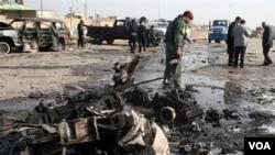 Pasca-ledakan di Ramadi pada awal bulan ini. Ledakan kembali mengguncang kota di Irak ini.