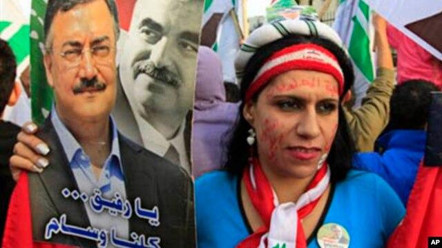 Lebanese protesters demonstrate in Beirut against the regime of Syrian President Bashar al-Assad, January 12, 2013.