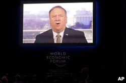 United States Secretary of State Mike Pompeo speaks through live video conference at the annual meeting of the World Economic Forum in Davos, Switzerland, Jan. 22, 2019.