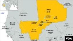 马里及主要城镇位置图