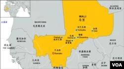 馬里及主要城鎮位置圖