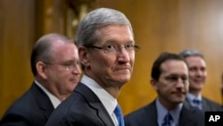 蘋果公司首席執行官庫克星期二出席參議院聽證會。