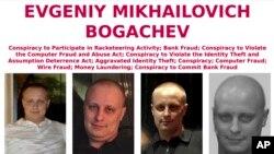 Fotografías provistas por el FBI de Evgeniy Bogachev, uno de los hackers rusos sancionados por Estados Unidos y buscado por delitos cibernéticos.