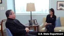 Archbishop Auza and Nikki Haley discuss human rights, Venezuela.