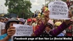 Người dân biểu tình phản đối vụ bắt nhà hoạt động Hoàng Bình; Diễn Châu, Nghệ An, 15/5/2017