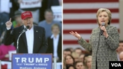 'Yan takarar shugabancin Amurka-Donald Trump da Hillary Clinton.