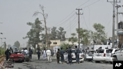 A view showing the scene of a bomb blast in Helmand province, August 27, 2011