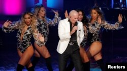 Pitbull performs at The Songwriters Hall of Fame 48th Induction and Awards Gala at the New York Marriott Marquis Hotel in Manhattan, New York, June 15, 2017. He closed the show and earned the Global Ambassador Award.