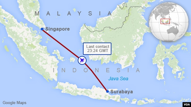 AirAsia QZ8501 Flight Path map disappear missing search rescue