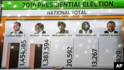 A tally board shows updated results of the presidential elections at the electoral results center in Lusaka, Zambia, Aug. 15, 2016.
