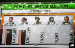 FILE - A tally board shows updated results of the presidential elections at the electoral results centre in Lusaka, Zambia, Aug. 15, 2016.