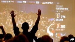 Arizona Democrats celebrate as President Barack Obama is declared the winner of the presidential race at a Democratic Party gathering in Tucson, Arizona, Tuesday, Nov. 6, 2012.