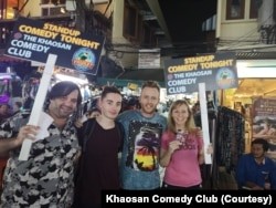 Jonny Nanachart, an American comedian, posed with other members of Khaosan Comedy Club in Bangkok, Thailand.