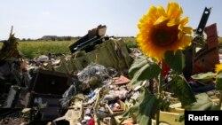 Đống đổ nát và các mảnh vỡ tại nơi máy bay Malaysia bị bắn rơi gần làng Hrabove (Grabovo), Donetsk, ngày 26/7/2014.