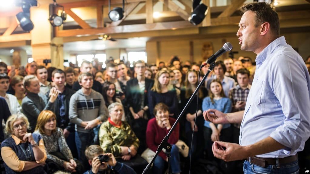 Lãnh tụ đối lập Nga Alexei Navalny phát biểu trước công chúng tại Perm, cách Moscow 1200 km, vào ngày 9/12/2017.