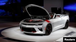 A Chevrolet Camaro SS Convertible is displayed at the North American International Auto Show in Detroit, Michigan, Jan. 12, 2016.
