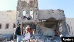 Un bâtiment bombardé à Saada au Yémen, le 20 décembre 2017.