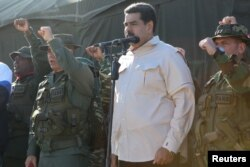 Venezuela's President Nicolas Maduro attends a military exercise in Charallave, Venezuela, Feb.10, 2019. (Miraflores Palace/Handout via Reuters)