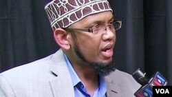 "In an interview with VOA's Somali Service, Abdirahman Sharif, leader of the Dar-Al-Hijra mosque in Minneapolis, Minnesota, described the Orlando attack as ""anti-Islamic."" (screen grab from video)"