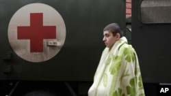 지난 1월 우크라이나 아르테미우시크 지역에서 부상당한 정부군이 병원에 도착했다.