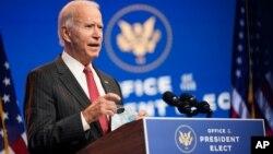 FILE - President-elect Joe Biden speaks at The Queen theater in Wilmington, Del., Nov. 19, 2020.