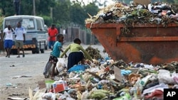 Children sift through garbage at a dump site in Harare, Zimbabwe, on President Robert Mugabe's 87th birthday, February 21, 2011 (File photo)