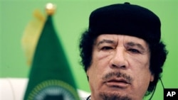 Libyan leader Moammar Gadhafi talks during the first session of the 3rd Africa-EU Summit in Tripoli, Libya, Monday, Nov. 29, 2010. 80 African and European Heads of State and Government and some 50 observers from third countries met in Tripoli to discuss c
