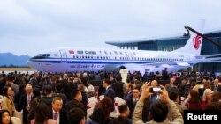 中国国航2018年12月15日迎接首架波音737-8型飞机(路透社)