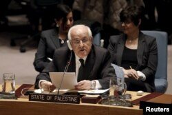 Palestinian Ambassador to the United Nations Riyad Mansour addresses a U.N. Security Council meeting on the Middle East at U.N. headquarters in New York, Jan. 26, 2016.