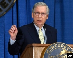 Senate Majority Leader Mitch McConnell of Ky. speaks during the Kentucky Farm Bureau Country Ham Breakfast, Aug. 24, 2017, in Louisville, Ky.