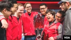 Maryville University of St. Louis celebrates their victory at the 2017 League of Legends College Championsips (Courtesy of Riot Games)