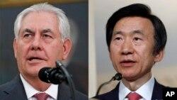 렉스 틸러슨 미국 국무장관(왼쪽)과 윤병세 한국 외교장관.
