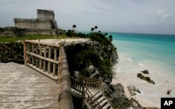 A view of the ancient ruins of Tulum, Mexico.