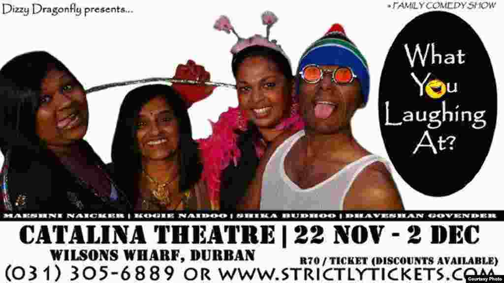 Govender, far right, as he appears on a poster advertising a recent comedy show in South Africa (Courtesy D. Govender)