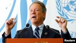 지난해 5월 데이비드 비슬리 유엔 세계식량계획(WFP) 사무총장이 스위스 제네바 유엔본부에서 남수단 난민에 대한 대응 방안 계획 관련 기자회견에 참석하고 있다.